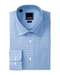 David Donahue - Blue Long Sleeve Trim Fit Plaid Dress Shirt for Men - Lyst
