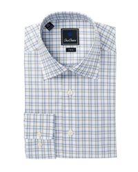 David Donahue | Blue Check Trim Fit Dress Shirt for Men | Lyst