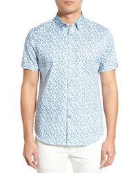 Ted Baker - Blue Leafit Leaf Print Modern Slim Fit Short Sleeve Sport Shirt for Men - Lyst