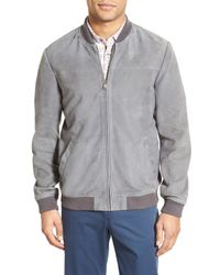 Ted Baker | Gray Vipers Genuine Suede Bomber Jacket for Men | Lyst