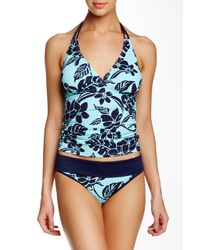 Tommy Bahama - Blue Floral-Print Halter Tankini Top & Ruch-Side Hipster Swim Bottom - Lyst