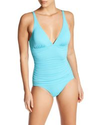 Tommy Bahama | Blue Ruched Triangle Top One-piece Swimsuit | Lyst