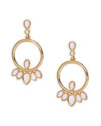 Trina Turk | Metallic Stone Frontal Hoop Earrings | Lyst