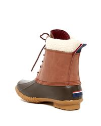 Tommy Hilfiger - Brown Russel Faux Shearling Trim Rain Boot - Lyst