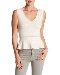 BCBGMAXAZRIA | White Alonya Knit Peplum Shirt | Lyst