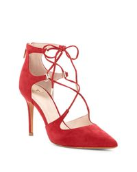 Marc Fisher | Red Toni Lace-up Pointed Toe Pump | Lyst