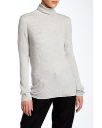 Vince - Gray Ribbed Turtleneck Sweater - Lyst