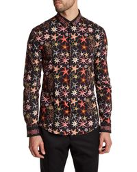 Versace | Black Long Sleeve Starfish Print Trim Fit Woven Shirt for Men | Lyst