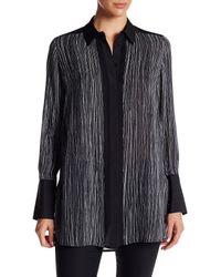 VINCE   Black Wavy Stripe-print Silk Blouse   Lyst