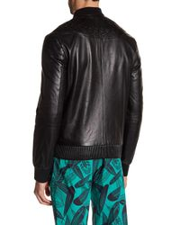 Versace - Black Genuine Leather Zip Jacket for Men - Lyst