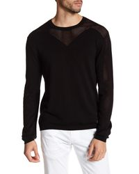 Versace - Black Mesh Paneled Sweater for Men - Lyst