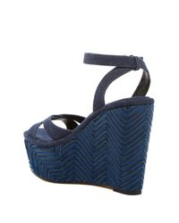 Vince Camuto Signature - Blue Danee Wedge Sandal - Lyst