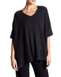 VINCE | Blue Ribbed Cashmere Poncho | Lyst