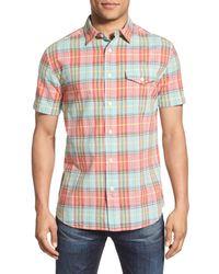 Grayers - Multicolor 'sandhurst' Regular Fit Plaid Slub Poplin Short Sleeve Woven Shirt for Men - Lyst