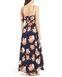 Band Of Gypsies Blue Floral Maxi Dress