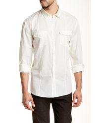 John Varvatos - White Long Sleeve Trim Fit Shirt for Men - Lyst