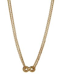 Kate Spade - Metallic Gold Plated Infinity Pendant Double Chain Necklace - Lyst