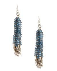 Nakamol - Blue Multi Strand Metal & Crystal Beaded Fringe Drop Earrings - Lyst