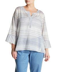 NYDJ - Gray Regatta Stripe Split Neck Tunic (plus Size) - Lyst