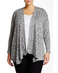 Bobeau | Gray Waterfall Cardigan (plus Size) | Lyst