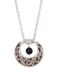 Lois Hill | Metallic Sterling Silver Double Sided Moon & Bead Pendant Necklace | Lyst