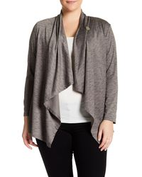 Bobeau | Gray Space Dye Button Cardigan (plus Size) | Lyst