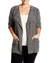 Bobeau - Black Textured Drape Jacket (plus Size) - Lyst