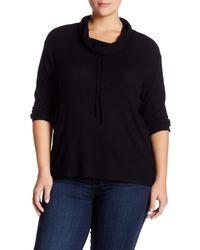 Bobeau | Black Drawstring Cowl Neck Pullover (plus Size) | Lyst