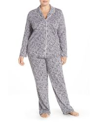DKNY - Gray Print Jersey Pajamas (plus Size) - Lyst