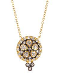 Freida Rothman - Metallic 14k Gold & Rhodium Plated Sterling Silver Cz Floral Pendant Necklace - Lyst