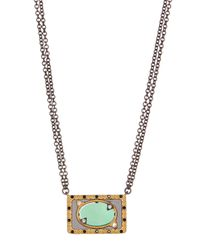 Freida Rothman - Metallic Two-tone Green Agate Slice Pendant Necklace - Lyst