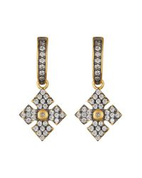Freida Rothman | Metallic Two-tone Pave Cz Maltese Cross Drop Earrings | Lyst