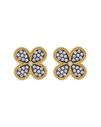 Freida Rothman | Metallic 14k Gold Plated Sterling Silver Cz Pave Clover Stud Earrings | Lyst