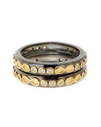 Freida Rothman | Metallic Rhodium & 14k Gold Plated Sterling Silver Cz Infinity Rings - Set Of 2 - Size 9 | Lyst