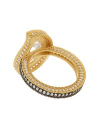 Freida Rothman - Metallic 14k Gold & Rhodium Plated Sterling Silver Cz Paisley Radiance Ring - Size 8 - Lyst