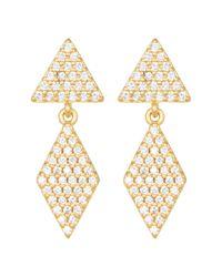 Freida Rothman - Metallic Femme Geo Pave Double Drop Earrings - Lyst