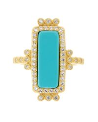 Freida Rothman | Metallic 14k Gold Plated Sterling Silver Cz Turquoise Bar Ring - Size 9 | Lyst