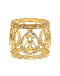 Freida Rothman - Metallic 14k Gold Plated Sterling Silver Open Cz Pave Filigree Ring - Size 9 - Lyst