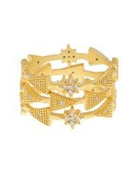 Freida Rothman - Metallic 14k Gold Plated Sterling Silver Cz Single Stone Rings - Set Of 3 - Size 6 - Lyst