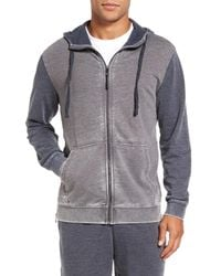 Daniel Buchler | Gray Washed Cotton Blend Terry Zip Hoodie for Men | Lyst