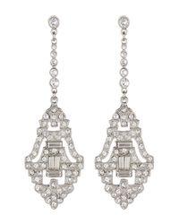 Ben-Amun - Metallic Pave & Bezel Set Pave Crystal Deco Drop Earrings - Lyst