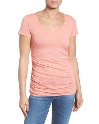Caslon - Pink Shirred V-neck Tee (petite) - Lyst