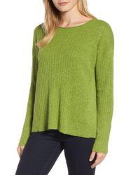 Eileen Fisher - Green Organic Linen & Cotton Crewneck Sweater - Lyst