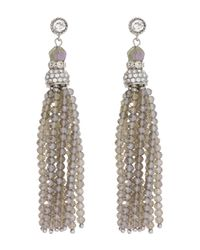 Saachi - Metallic Grey Crystal & Beaded Tassel Earrings - Lyst