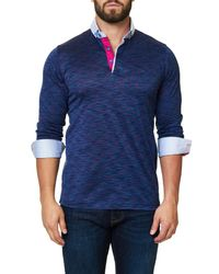 Maceoo - Long Sleeve Melange Purple Polo for Men - Lyst