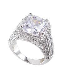 CZ by Kenneth Jay Lane   Metallic Cz Princess Cut Pave Trim Ring   Lyst