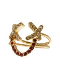 Rebecca Minkoff - Metallic Pave Smiley Face Ring Set - Size 7 - Lyst