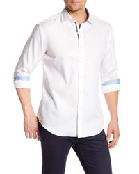 Bugatchi - White Tonal Patterned Long Sleeve Shaped Fit Shirt for Men - Lyst