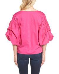 Halogen - Pink Blouson Sleeve Top (petite) - Lyst