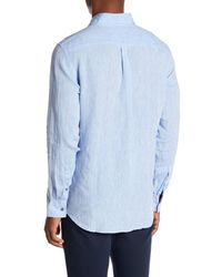 Report Collection - Blue Long Sleeve Slim Fit Linen Shirt for Men - Lyst